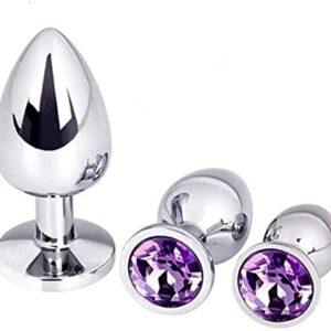 3 Pcs/Set Stainless Steel Bûtt Pl'ugs Trainer Kit Ànâles Pl'ugs Beginner Stímûlátor Set Kit for Women Men QIANYUHAOHAO (Color : Purple)