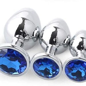 3Pcs Stainless Steel Kit Relaxing Àmàl Plùg Toys Relaxing Trainer Kit-Jewelry Ƀụtt Plụg Massage Toys Blue