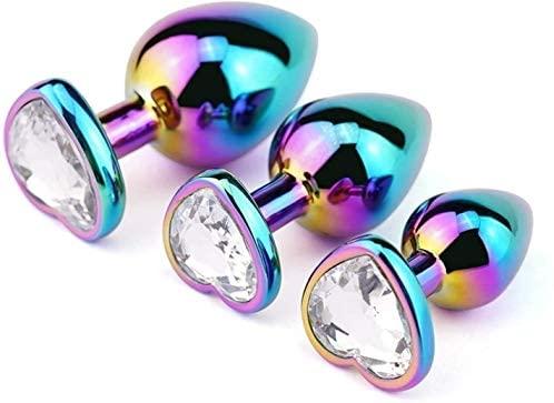 3Pcs/Set Rainbow Color Stainless Steel Bûtt Pl'ugs Trainer Kit Luxury Gem Jeweled Design Ànâles Pl'ugs Beginner Stimûlatōr Set Mạssage for Men and Women Gem Àmâl Set(Rainbow Metal,white1)