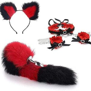 3Pcs/Set Séẍy Fluffy Fox Tail Bǔtt Plǔġ Plush Cat Ear - Punk Gothic Leather Collar andMulticolor Leather Bell Choker Collar Necklace for Cosplay, Party MOREDOU (Color : 2, Size : Small)