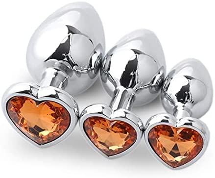 3pcs Šëxy Tóys Âñäl Plǜg Gem Jewelry Design Ànâles Plùg Stainless Steel Bûtt Aǹal Stímulátion Tóy for UniŠéx Mǎstúrbatión Jewelry Diamond Crystal gem Wobliuor (Color : Orange)