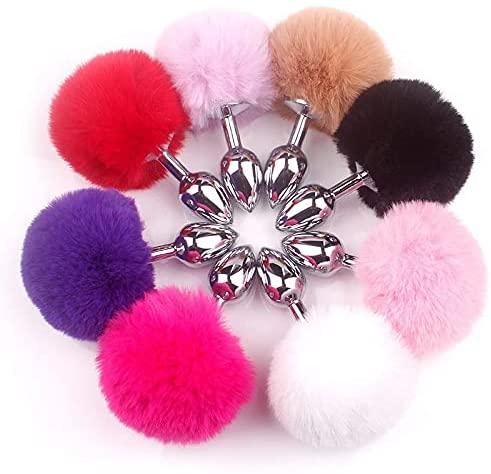 Ànàl Plùg Bunny Tail Stainless Steel and Silicone Bùtt Plùgs Massage Tool for Woman Men G-À-y Anùs Stimulǎtor Smooth Touch (Color : Pink)