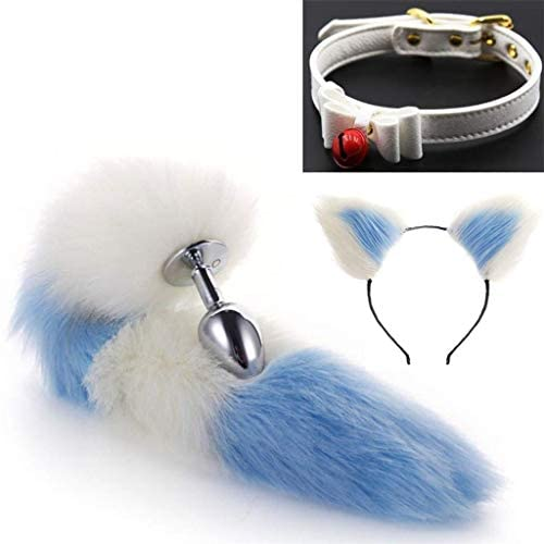Cos Bell Collar - Fluffy B-ütt P-l-ǔ-g (White & Blue) Fox Tail Plush And Multicolor Cat Ears Anime Set for Women Glamour Female Masquerade Props 3pcs Set Massage Cosplay Props ( Color : A , Size : M )