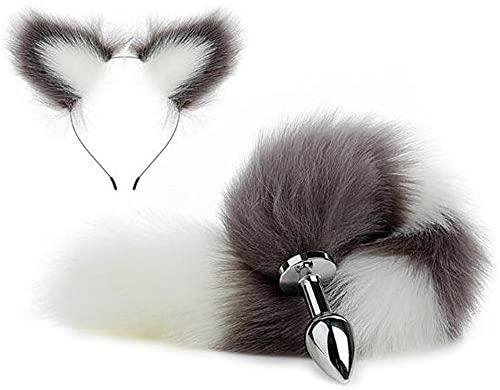 Faux Fur Wolf Fox Tail Bûtt Àlàl Plùg And Clip Ears Hair Accessories Halloween Cosplay Costume Accessories(SSX-L)