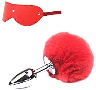 Frasky Sports Set Leather Bindfolded Adjustable Rabbit Tail ball Bu-tt Plug Play Women Halloween Gifts Red