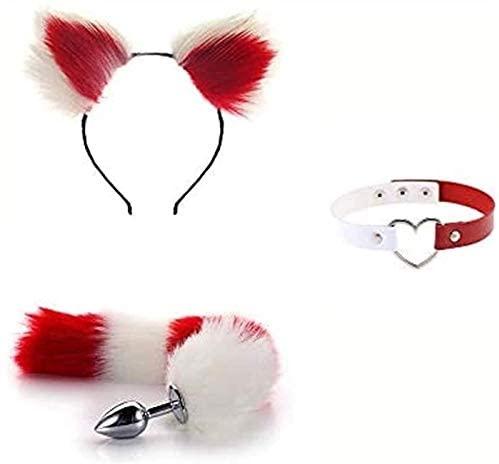 HOOLAN 3Pcs/Set Fluffy Fox Tail Plush and Fox Cat Ears,Ànâl Büṭṭ, Plǔģ Anǎl Ears Hairpin & Wings Punk Harness Halloween Cosplay Party Toys. DD22cm (Color : Red)