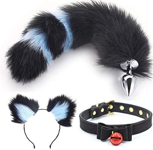 Jjek Cos Bell Collar - Fluffy B-ütt P-l-ǔ-g (Black&Blue) Fox Tail Plush- and Multicolor cat Ears Anime Set for Women Glamour Female Masquerade Props 3pcs (Color : B, Size : M)