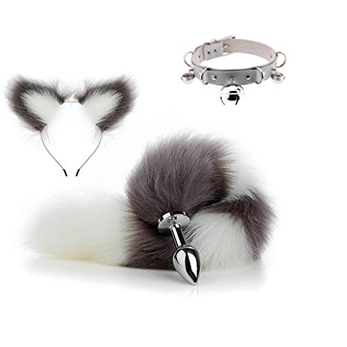 Lolita Garden 3pcs Adult Cosplay Sexy Grey White Cosplay Fluffy Faux Fox Tail Black Plug and Ears Headband Charms and Collar Set