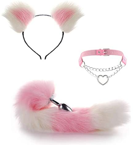 Lolita Garden Cute Accessories Set White and Pink Ears Headbands with Cat Tail Ànâl Plùg and Collar Sexy Cosplay for Adult