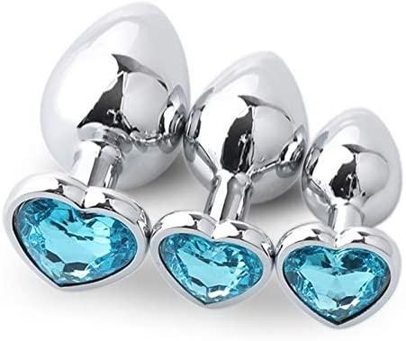 Nhoeuziol 3Pcs/Set Anàlès Pl'ùgs Stimúlàtor Jeweled Back Massage Crystal Ànâles Trainer Set Heart Shaped Jewel Crystal Diamond Bûtt Pl'ugs Set Beads Massage Toys Annlseex (Size : 1)