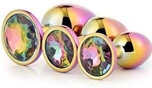 Round Diamond Stainless Steel 3pcs/Set , Massage Diamond Jewel Stainless Steel Kit Relaxing Trainer,Design Bûtt Àmàl Plùg Toysfor Women/Man Massage Body