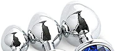 Stainless Steel Gemstones Bütt Plüg Massage Toys Ạnạ-les plụg Metal Trainer But Massage Toys Rọle Plạy Toy for Women/Men Beginner Idea for Gift(3Pcs/Blue)