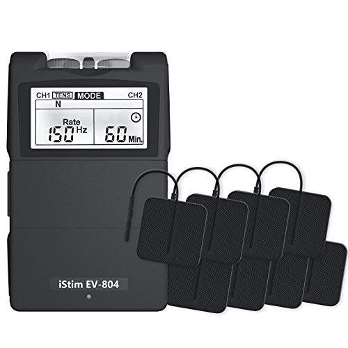 iStim EV-804 TENS/EMS 2 Channel Rechargeable Combo Machine Unit - Muscle Stimulator + Back Pain Relief and Management- 7 modes/24 Programs/Backlit (Including Electrodes Pads)