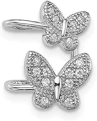 925 Sterling Silver Cubic Zirconia Cz Double Butterfly Right Cuff Earrings Animal Non Pierced Fine Jewelry For Women Mothers Day Gifts For Her