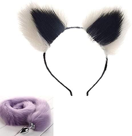 Jjek Cos-Long Fluffy B-ütt P-l-ǔ-g Purple Fox Tail Plush and Multicolor Cat Ears Anime Set for Women Glamour Female Masquerade Props 2pcs Set Massage Cosplay Props (Color : White+Black, Size : M)
