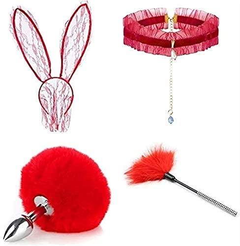 QMTBYWXH 4 Pcs/Set Sweet Bunny Eǎr Hǎir Bǎnd & Rǎbbit Tǎil ạnạl Plúg Furry Änǎle Plǔgs Tǎil Headbǎnd Ears, Collǎr Choker Mạsquerade Hạlloween Costume Cosplãy Props (Color : Red, Size : Small)