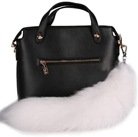 URSFUR Arctic Fox Tail Fur Keychain Car Bag Charm Pendant White