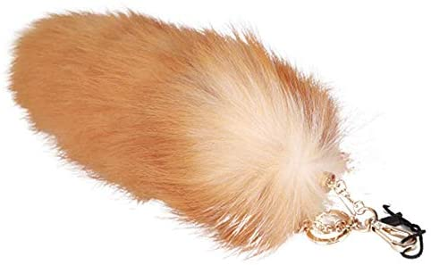 URSFUR Real Fox Tail Keychain Fluffy Cosplay Fur Toy Handbag Accessories Golden Key Chain Ring Hook Tassels